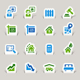 Paper Cut - Real estate icons Royalty Free Stock Photos