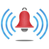 Paper cut of red alarm bell with blue signal is alert symbol Royalty Free Stock Photo