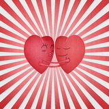 Paper cut of red hearts is hug with sweet love in valentine day Royalty Free Stock Image