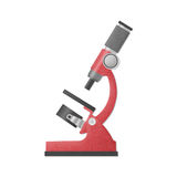 Paper cut of red microscope is science equipment in laboratory f Stock Images