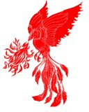 Paper cut Red tribal Phoenix fire bird tattoo. Japanese peacock for tattoo. Traditional Asian tattoo the old dragon vector Stock Photography
