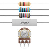 Paper cut of resistor 4-6 band, cement resistor and variable res Stock Photography