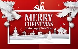 Paper cut retro banner and branches. Paper cut and craft Merry Christmas applique background with white christmas tree branches. Landscape with houses, snowman Stock Image