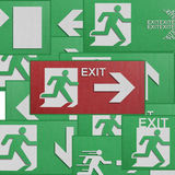 Paper cut of run to exit label for emergency with escape sign fr Stock Photos