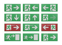 Paper cut of run to exit label for emergency with escape sign fr Royalty Free Stock Photo