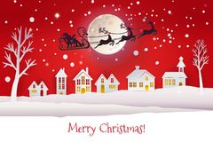 Paper cut with Santa deers silhouette. Paper cut and craft winter landscape with houses, moon and Santa Claus silhouette flying with deers. Holiday Web banner Stock Photo