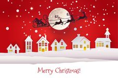 Paper cut with Santa over houses. Paper cut and craft winter landscape with houses, moon and Santa Claus silhouette flying with deers. Holiday Web banner with Royalty Free Stock Photo