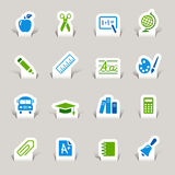 Paper Cut -  School Icons Stock Images