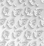 Paper Cut Seamless Pattern with Floral Elements and Butterflies, Royalty Free Stock Images
