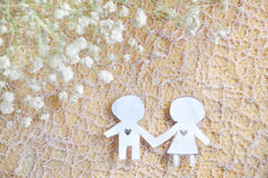 Paper Cut in Shape Couple Holding Hand Royalty Free Stock Image