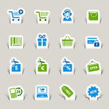 Paper Cut - Shopping icons. 16 online shopping icons set royalty free illustration
