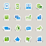 Paper Cut - Shopping Icons Royalty Free Stock Photography