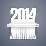 Paper 2014 is Cut into Shredder on Gray Stock Image