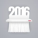 Paper 2016 is Cut into Shredder on Gray Royalty Free Stock Image