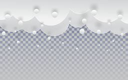 Paper cut snow clouds in the sky on transparent backdrop for merry christmas and happy new year holiday background, winter border vector illustration