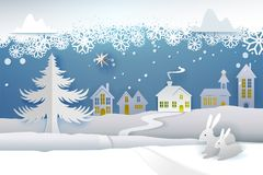 Paper cut snowing winter. Paper cut and craft winter landscape with evergreen tree, house, snowman, moon and snowflakes. Holiday nature and christmas tree. Web Stock Images