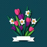 Paper cut spring flowers tulip and narcissus. Royalty Free Stock Images
