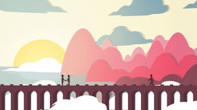 Paper-cut Style Applique Bridge near Coast with People - Vector. Illustration Stock Photos