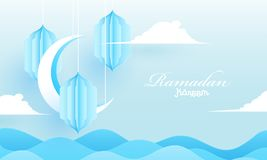 Paper cut style background with crescent moon illustration and hanging lanterns for Ramadan. stock illustration
