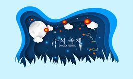 Paper cut style greeting card design with Korean text Chuseok Fe. Stival, persimmon tree on full moon night background decorated by Chinese lantern royalty free illustration