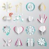 Paper Cut Symbols Vector Origami Icons. Paper Cut Symbols. Vector Origami Icons stock illustration