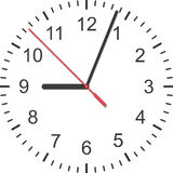 Paper cut of time clock, watch is number with hour hand and minu Stock Photography