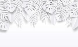 Paper cut tropic background. Summer trendy poster with exotic leaves, summer vacation backdrop. Vector nature wallpaper vector illustration