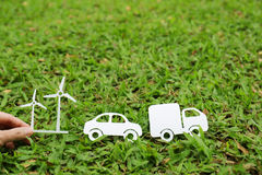 Paper cut of truck car and windmill Royalty Free Stock Images