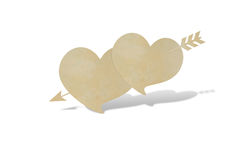Paper cut of two heart and arrow Stock Photos