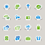Paper Cut - Vacation icons. 16 vacation and travel icons set Royalty Free Stock Photos