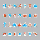 Paper cut vacation icons and travel icon Royalty Free Stock Image