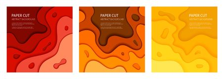 Paper cut vector abstract background set royalty free illustration