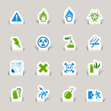 Paper Cut - Warning icons. 16 warning and danger icons set Royalty Free Stock Images