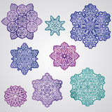 Paper Cut Watercolor Snowflakes Royalty Free Stock Photography