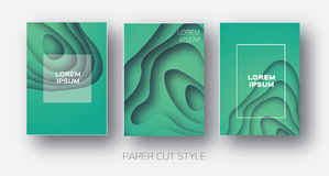 Paper Cut Wave Shapes. Layered curve Origami design for business presentations, flyers, posters. Set of 3 vertical. Banners. 3D abstract map carving. Text Stock Photos