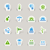 Paper Cut - Weather icons. 16 weather and meteorology internet icons set Royalty Free Stock Photography