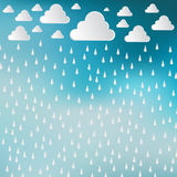 Paper cut white clouds and rain drops on blue sky background. Ra. Iny day. Vector Illustration background royalty free illustration