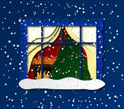 A paper cut window. View of a cozy room inside. Christmas tree, chest of drawers, gifts. Vector vector illustration