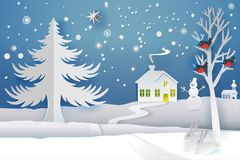 Paper cut winter banner. Paper cut and craft winter landscape with evergreen tree, house, snowman, moon and snowflakes. Holiday nature and christmas tree. Web Stock Image