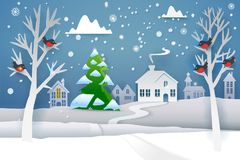 Paper cut winter and evergreen tree. Paper cut and craft winter landscape with evergreen tree, house, snowman, moon and snowflakes. Holiday nature and christmas Stock Photo