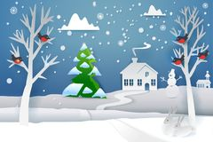 Paper cut winter with evergreen tree. Paper cut and craft winter landscape with evergreen tree, house, snowman, moon and snowflakes. Holiday nature and christmas Royalty Free Stock Photo