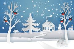 Paper cut winter landscape. Paper cut and craft winter landscape with evergreen tree, house, snowman, moon and snowflakes. Holiday nature and christmas tree. Web Royalty Free Stock Photography