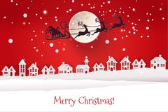 Paper cut winter night with Santa. Paper cut and craft winter landscape with houses, moon and Santa Claus silhouette flying with deers. Holiday Web banner with Royalty Free Stock Photo