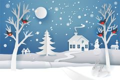 Paper cut winter. Paper cut and craft winter landscape with evergreen tree, house, snowman, moon and snowflakes. Holiday nature and christmas tree. Web banner Royalty Free Stock Image