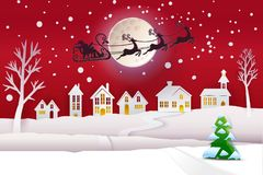 Paper cut winter with Santa and moon. Paper cut and craft winter landscape with evergreen tree, houses, moon and Santa Claus fly with deers. Holiday Web banner Royalty Free Stock Image