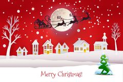 Paper cut winter with Santa silhouette. Paper cut and craft winter landscape with evergreen tree, houses, moon and Santa Claus silhouette flying with deers Stock Image