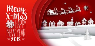 Paper cut Xmas Deers on red sky banner. Paper cut out and craft. Typography greeting Merry Christmas card. Landscape with houses and Santa Claus flying with Royalty Free Stock Photo