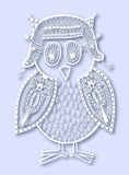 Paper cute of doodle owl Stock Image