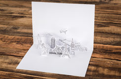 Paper cutl (Japan,France,Italy,New York,India,egypt) Royalty Free Stock Images