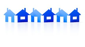 A paper cutout row of blue houses background. 3d illustration of a paper cutout row of blue houses background Royalty Free Stock Photography